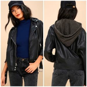 Free People Vegan Leather Black Moto Jacket Small